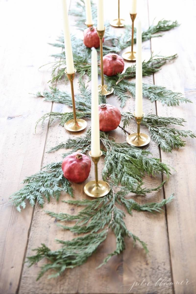 81 Stylish Christmas Decor Ideas You Can DIY | Simple centerpiece with pomegranates