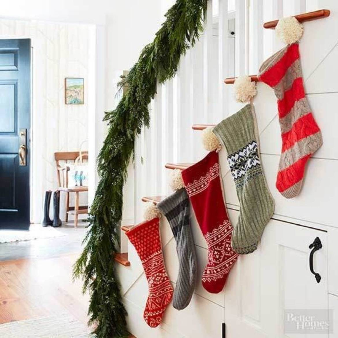 Christmas stockings on a stairwell