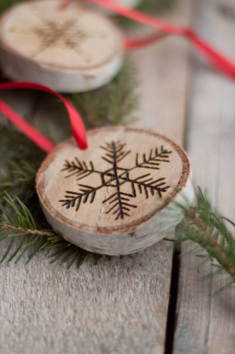 Etched birch ornament