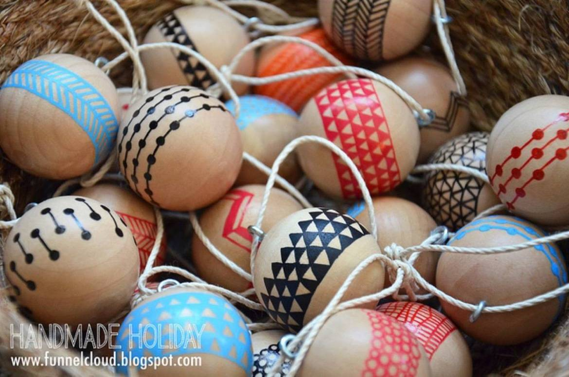 Painted modern wood ornaments