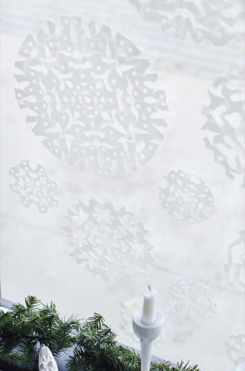 Snowy window for the holidays