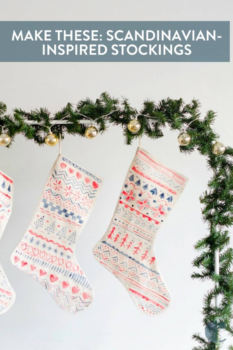 Hand-painted Nordic-inspired Stockings | How to create a watercolor effect when painting plain stockings.
