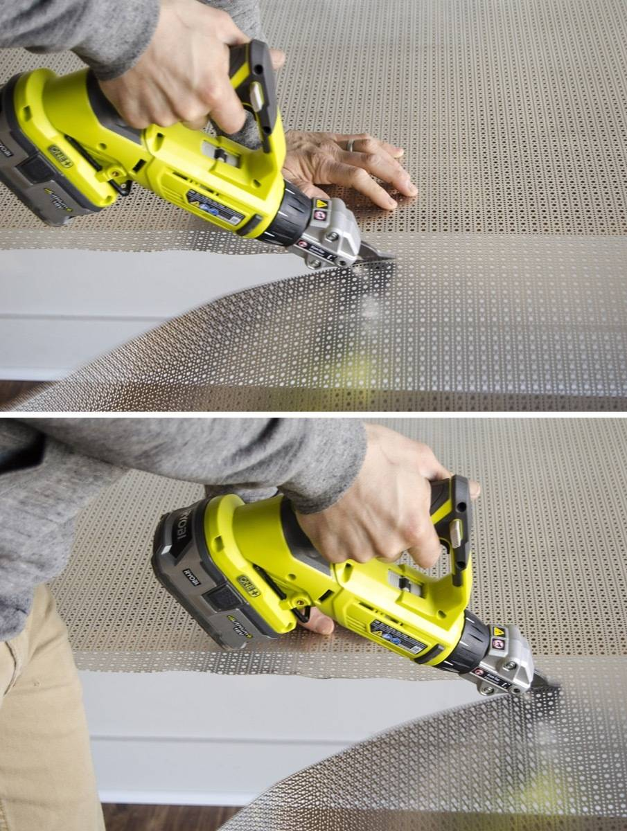 The Ryobi One+ Shears in action! Cuts like butter.