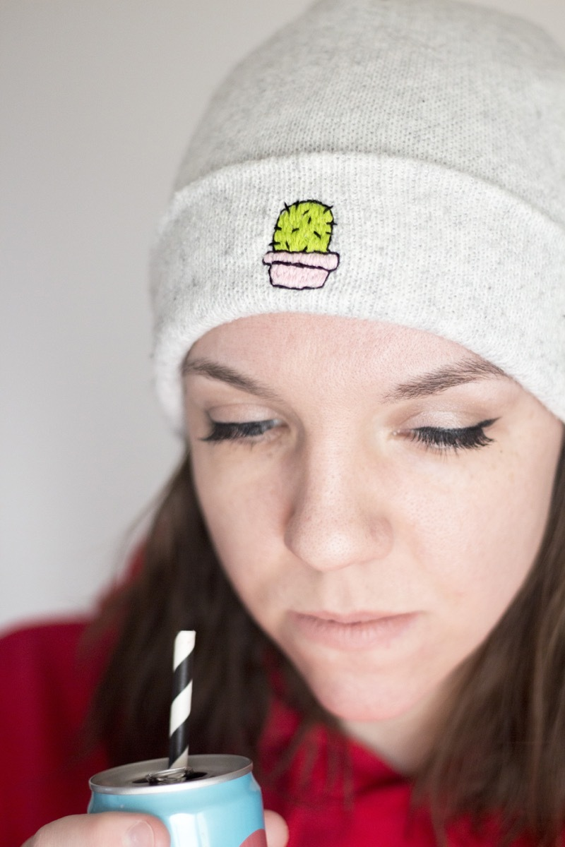 How to add quick detail to a beanie cap with embroidery