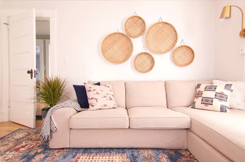 Cozy Family Room Makeover - Basket Wall
