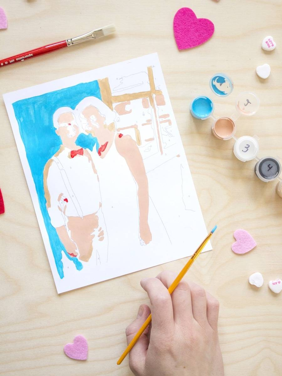 Happy Valentine's Day! We're making DIY paint-by-number kits to let our lovers know they're works of art!