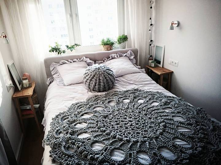 Crochet and knit textile bohemian bedroom