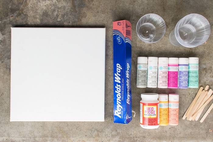 Materials needed to make fluid painting