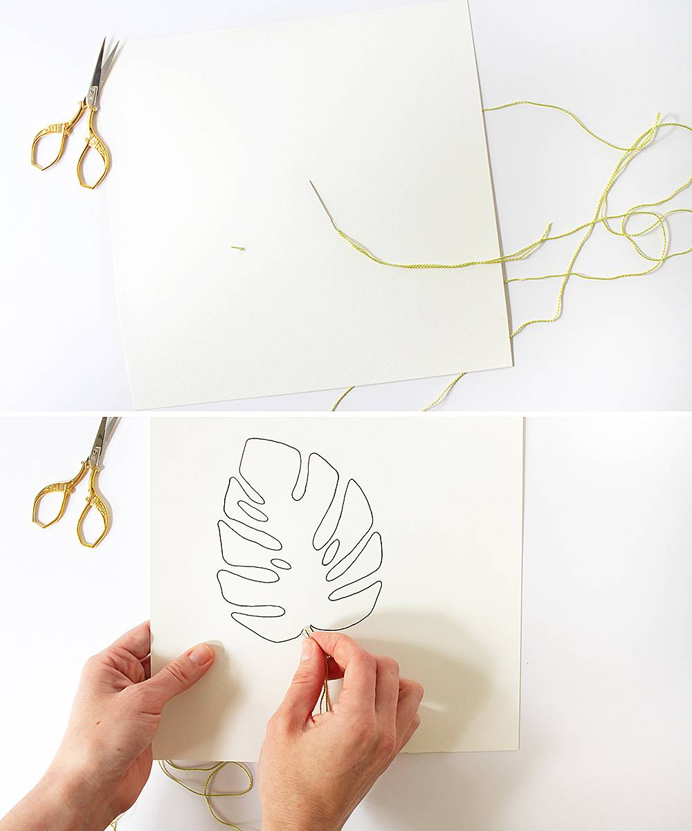 DIY Embroidered Monstera Leaf Art