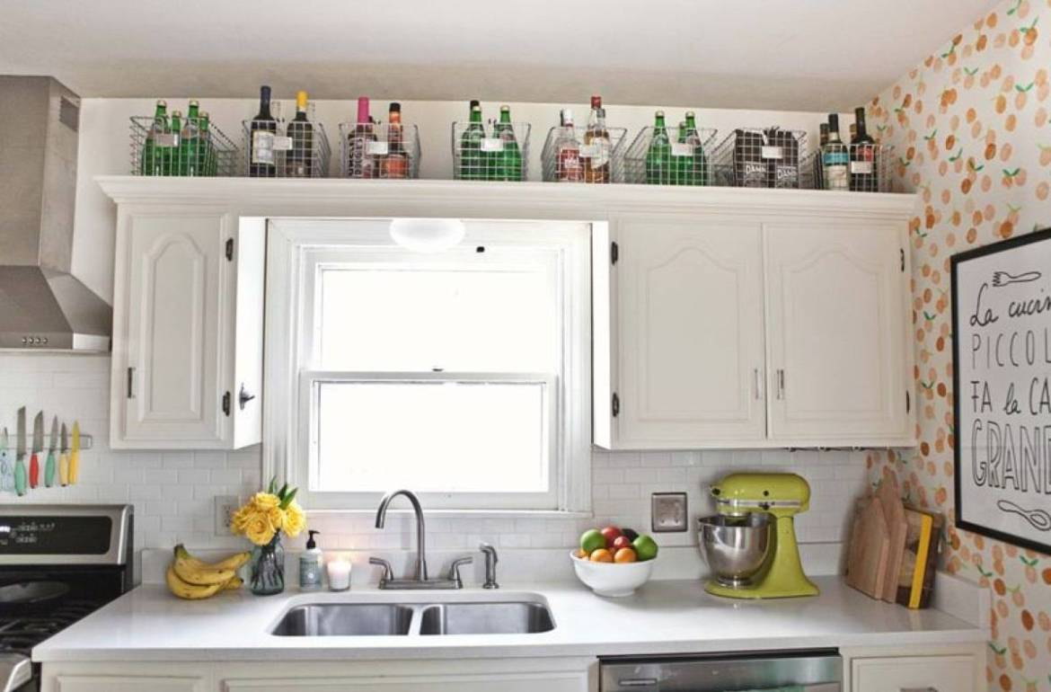 Baskets on cabinets