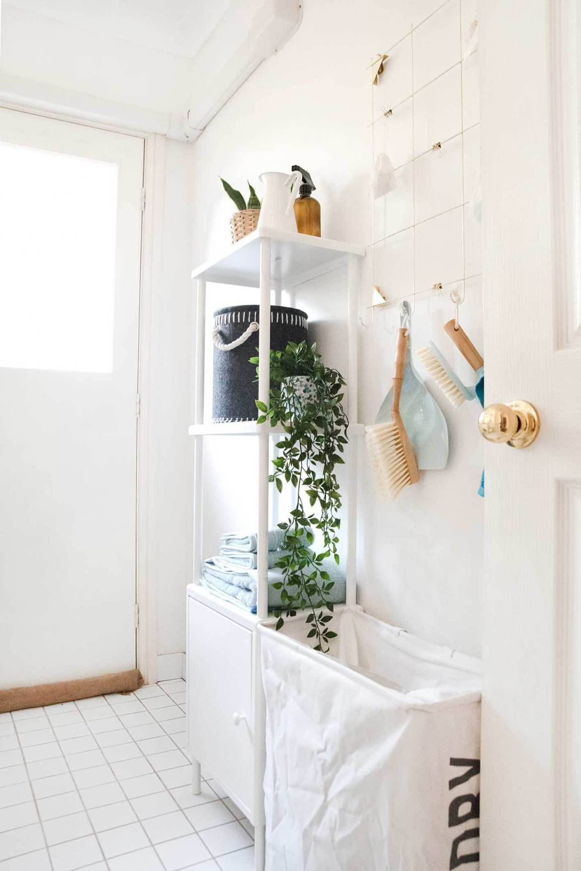 Hanging laundry room storage on wall