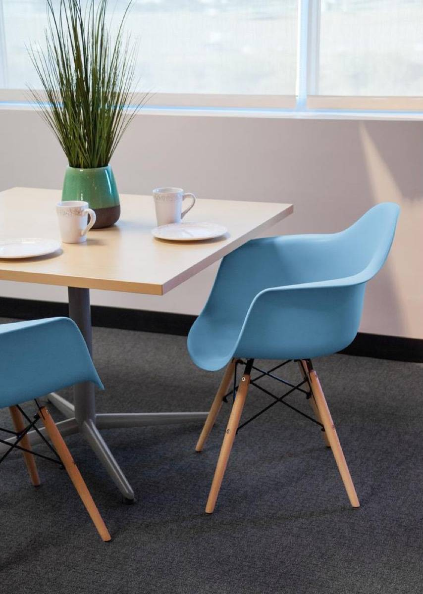 Set of two blue plastic shell chairs from The Home Depot