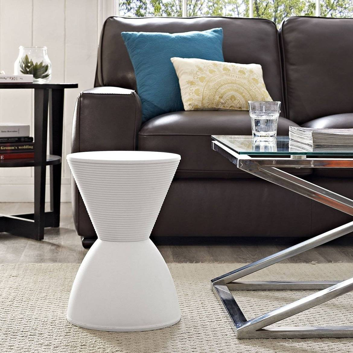 Modern hourglass accent stool from Amazon