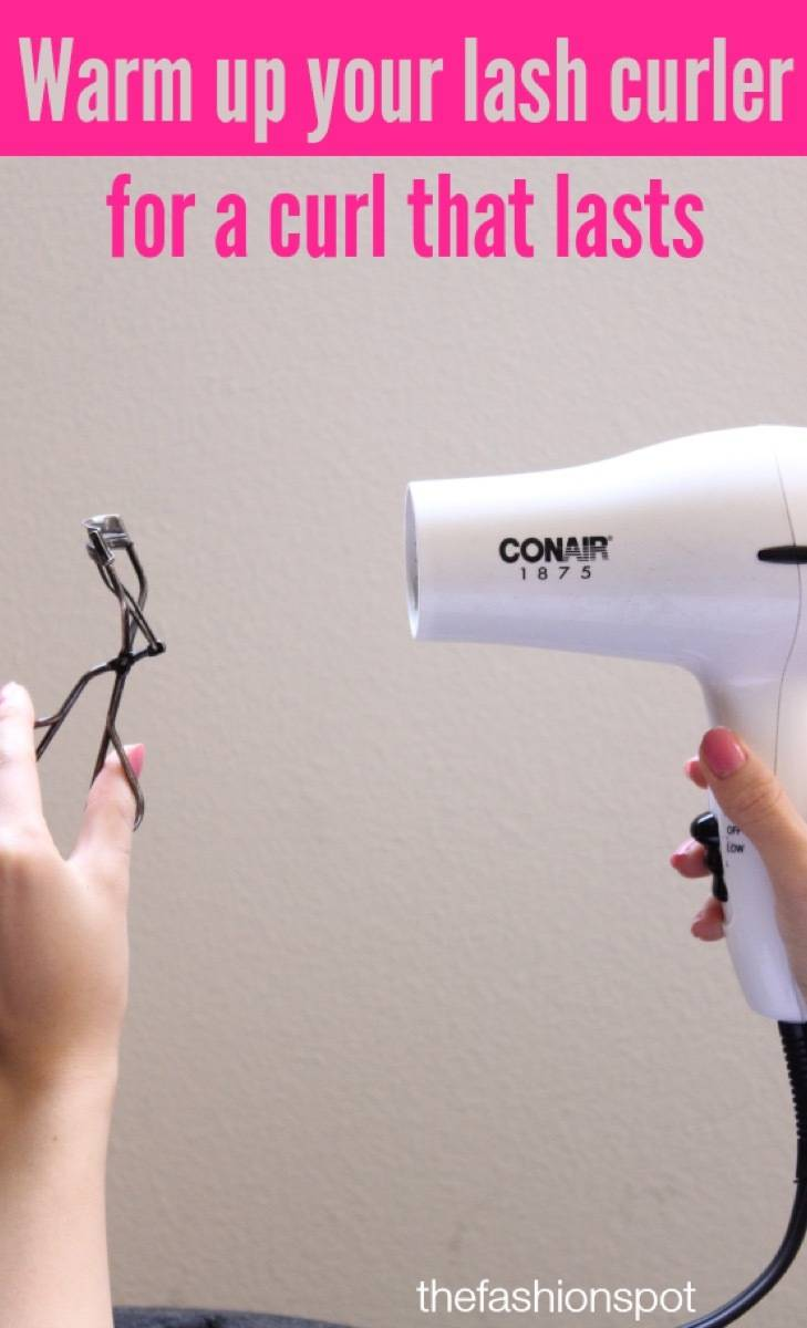 Warm up a lash curler for a curl that lasts