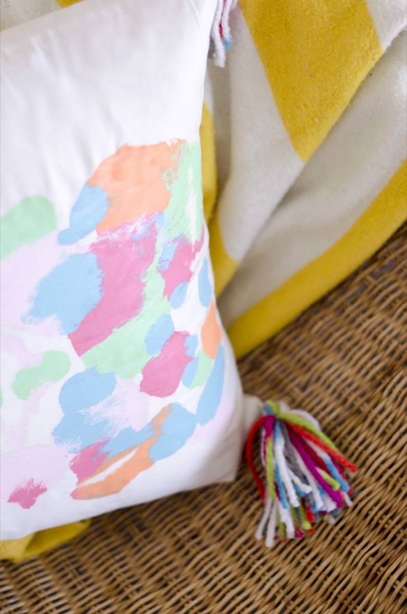 Detail shot of ink blot pillow covers