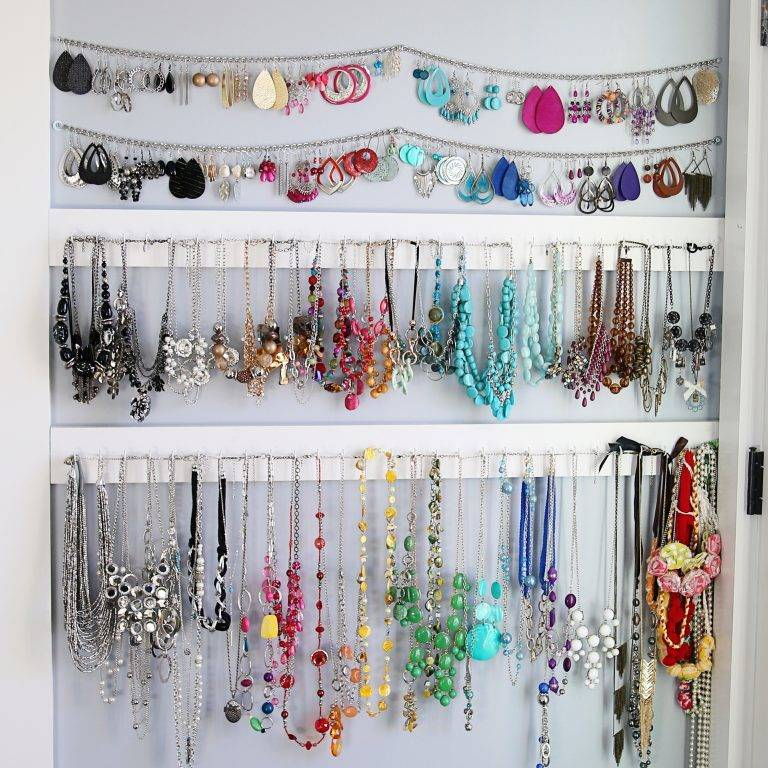 Necklaces, earrings, jewelry display