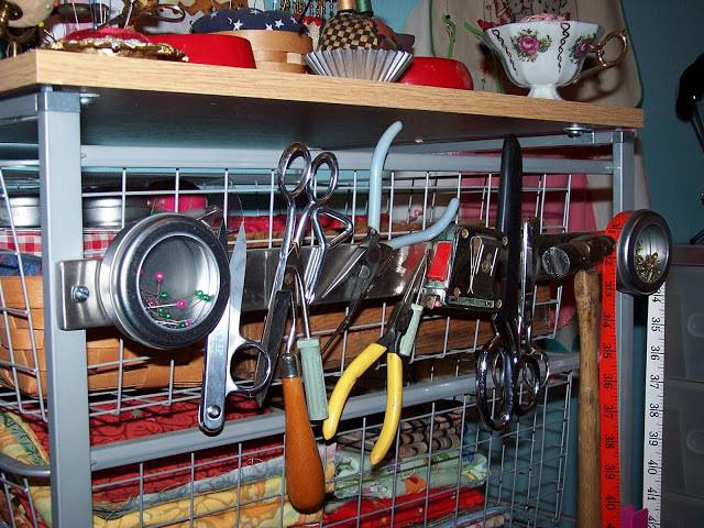Store craft tools on a magnetic knife strip