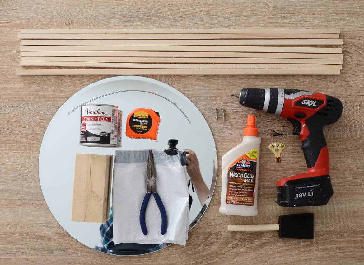 Materials needed to make this DIY mirror