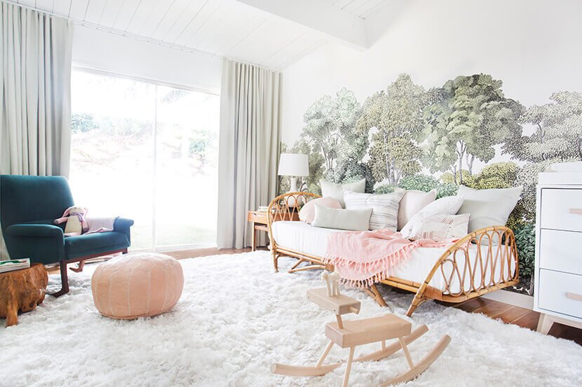 Emily Henderson's nursery with a rattan daybed