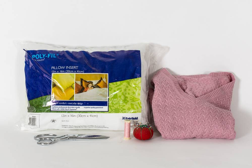 Materials for making a sweater pillow