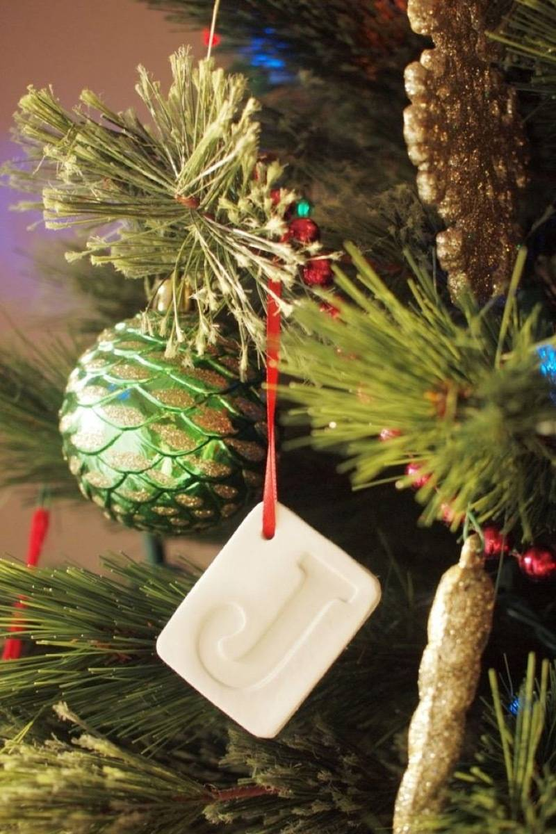 Clay monogrammed ornament