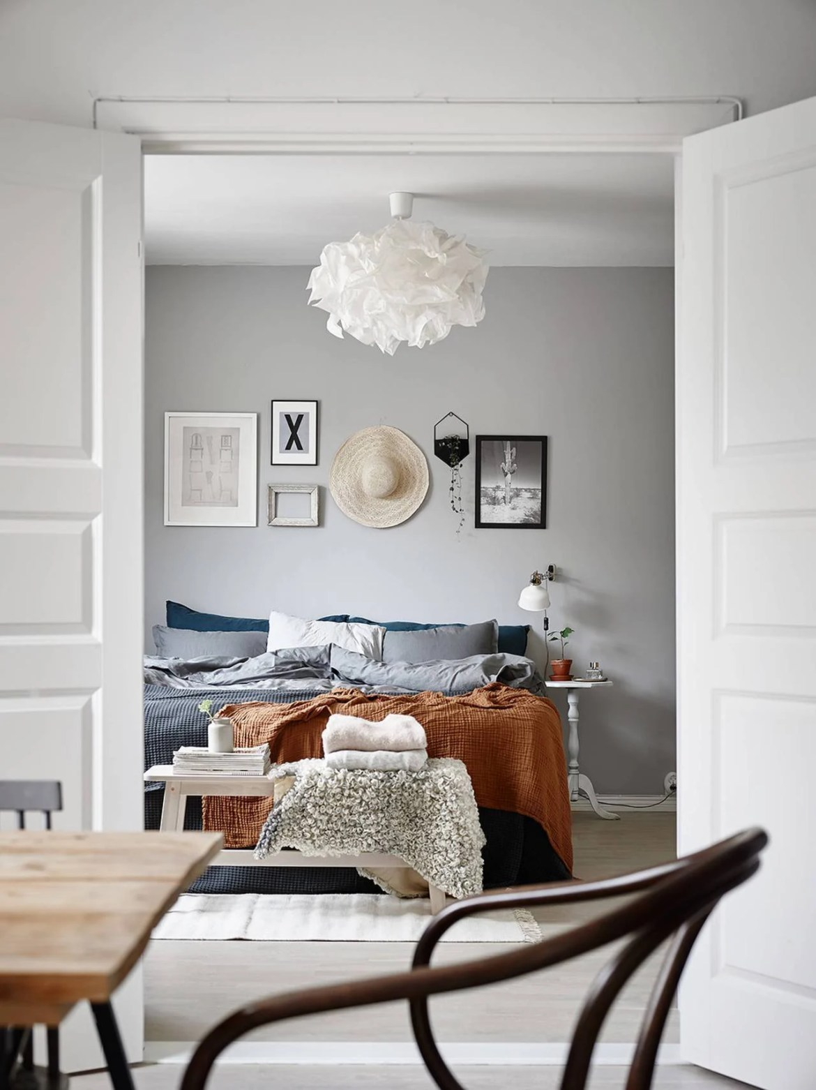 bright gray bedroom with vintage details