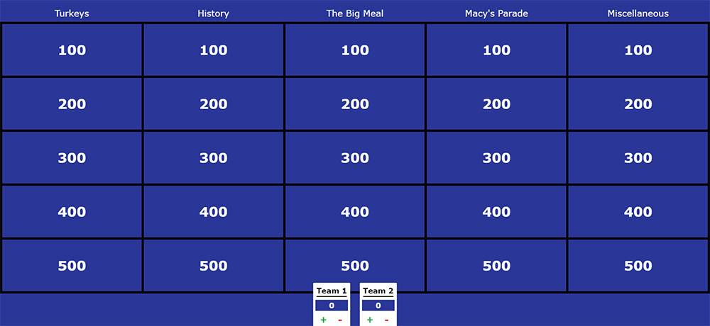 Thanksgiving-themed Jeopardy