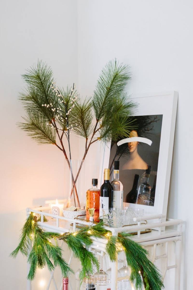 Apartment Christmas decorations: Bar cart styling
