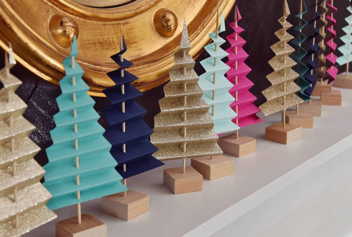 Easy Mantel Idea: Colorful Paper Tree Forest   By Curbly #diy #paper #christmas