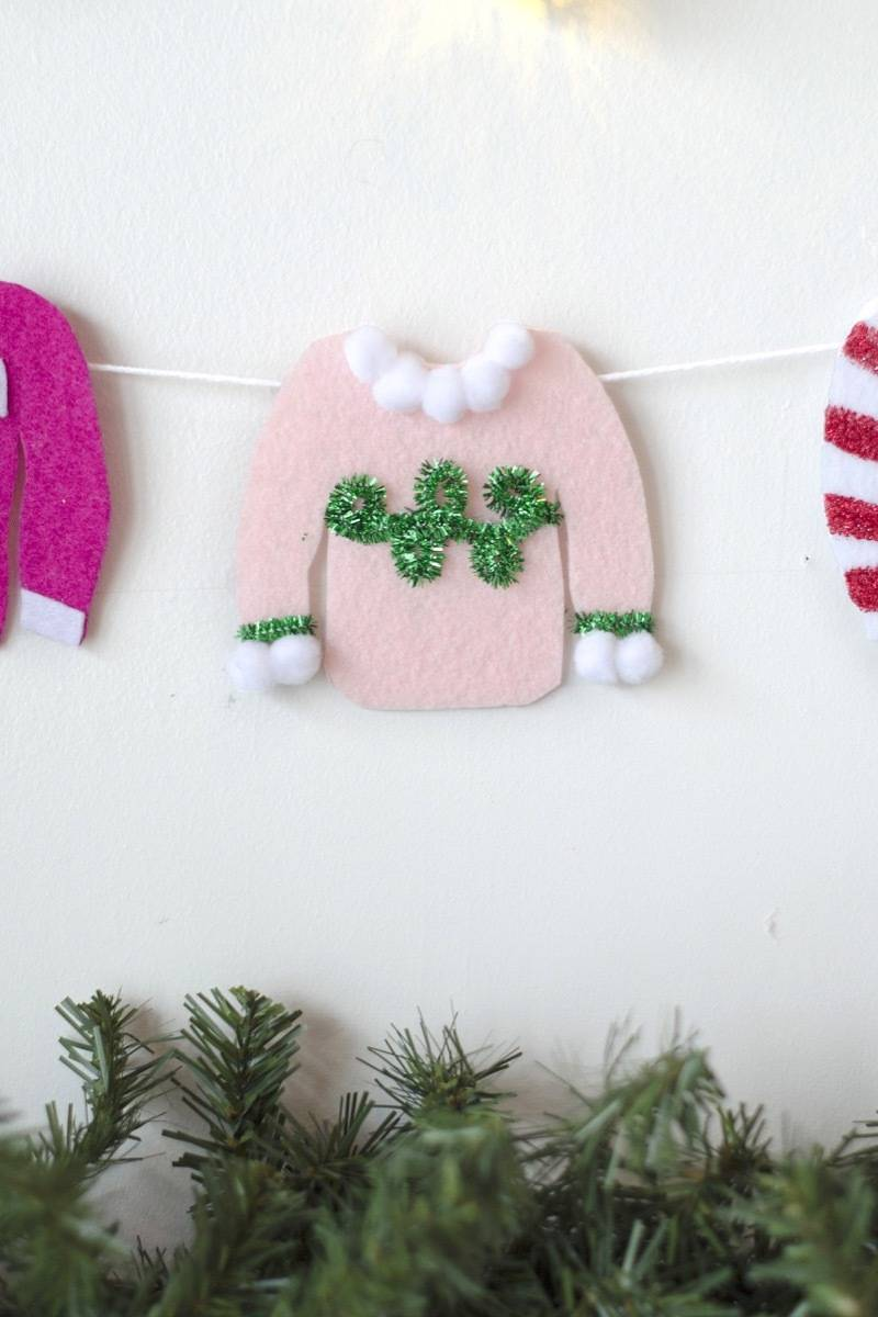 Detail shot of tacky Christmas sweater garland project