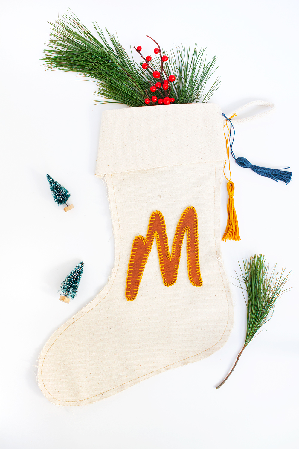 DIY Leather Monogram Stocking