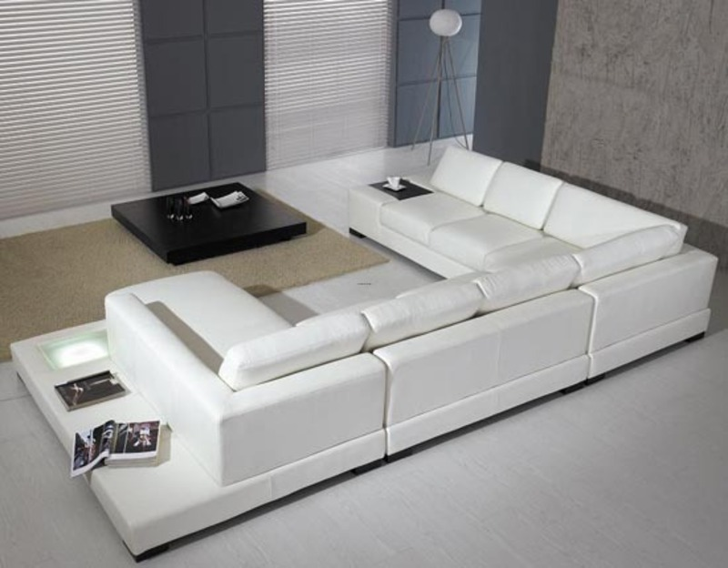 The Ultra Modern White Leather Sectional Sofa For
