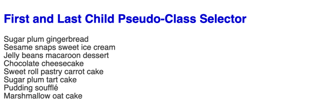 Large bold blue headline followed by an unordered list of eight items.