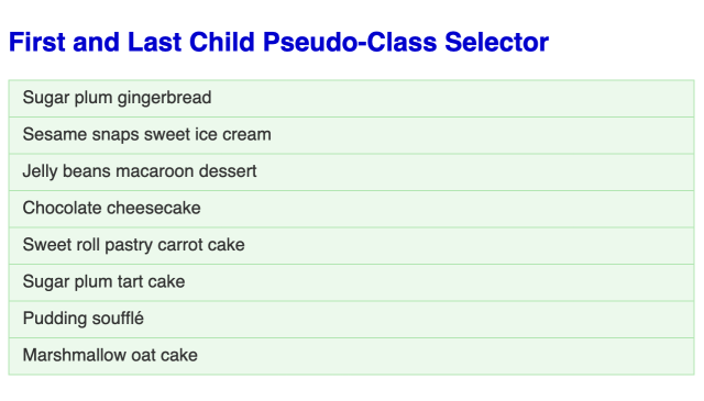 Large bold blue headline followed by an unordered list of eight items each in a light green box with a green border.