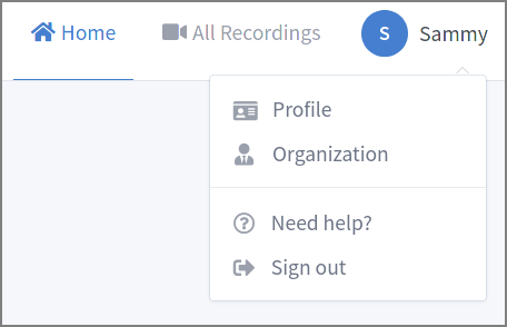 Image showing the admin user's options