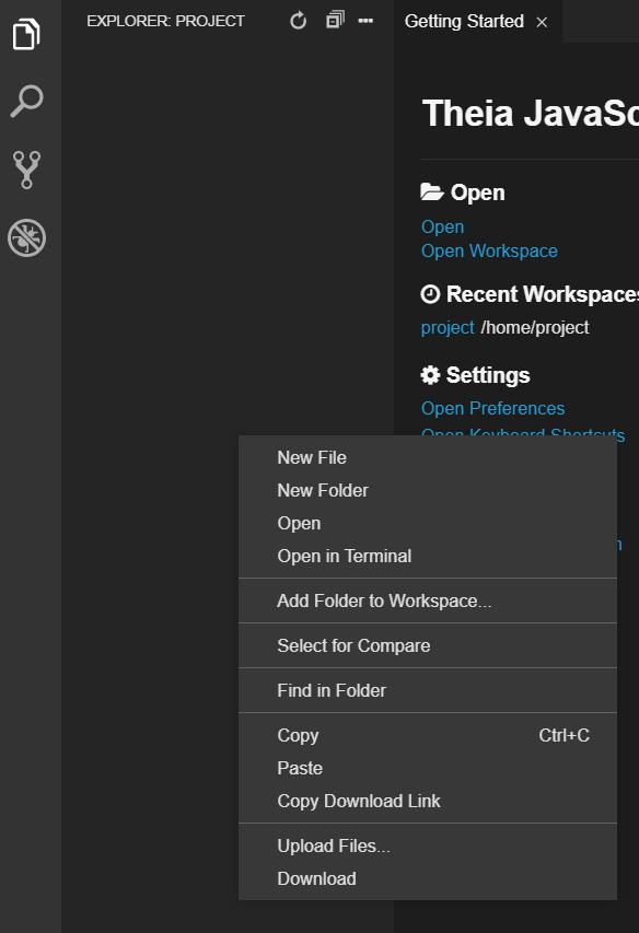Eclipse Theia GUI - New Folder