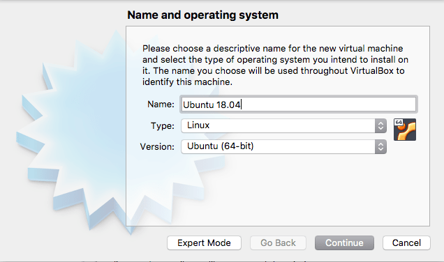 Name Virtual Machine Window