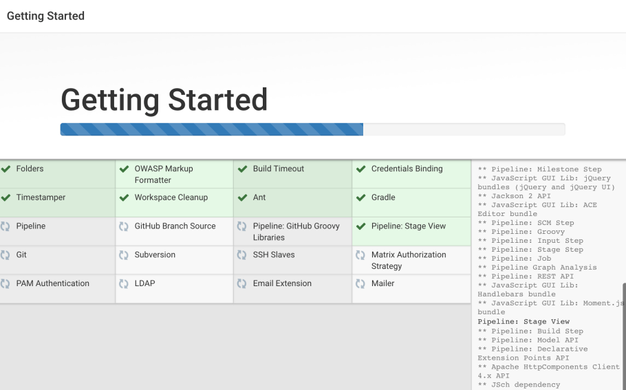 Jenkins Getting Started Install Plugins Screen