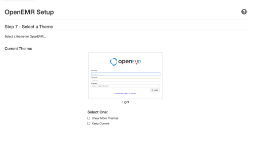OpenEMR setup page — Step 7