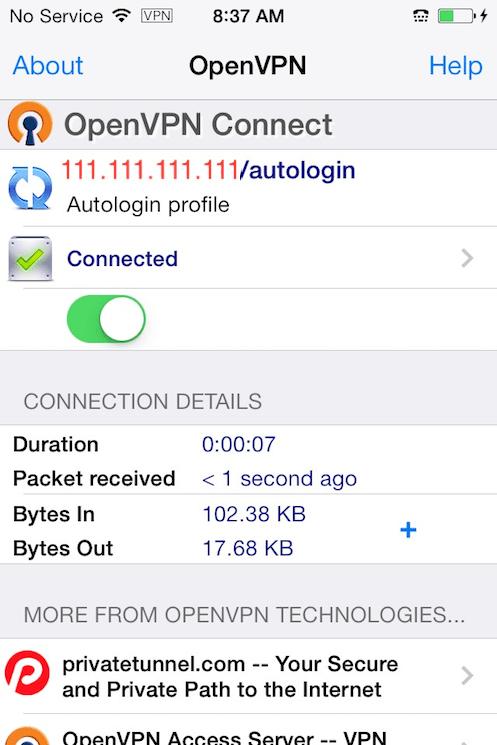 Die mit dem VPN verbundene OpenVPN iOS-App