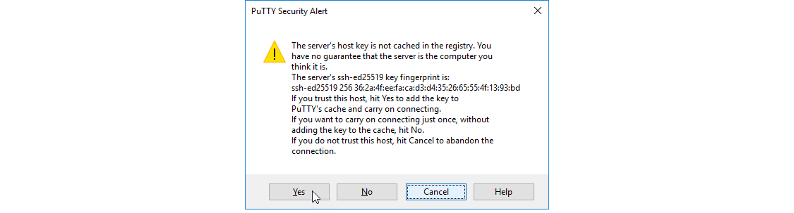 PuTTY Configuration Screen with above values filled in