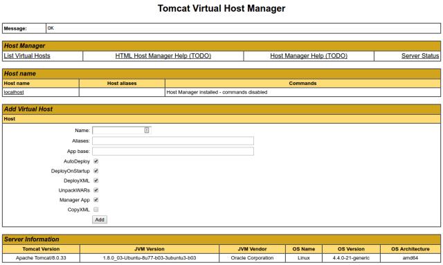 Gerenciador de host virtual do Tomcat