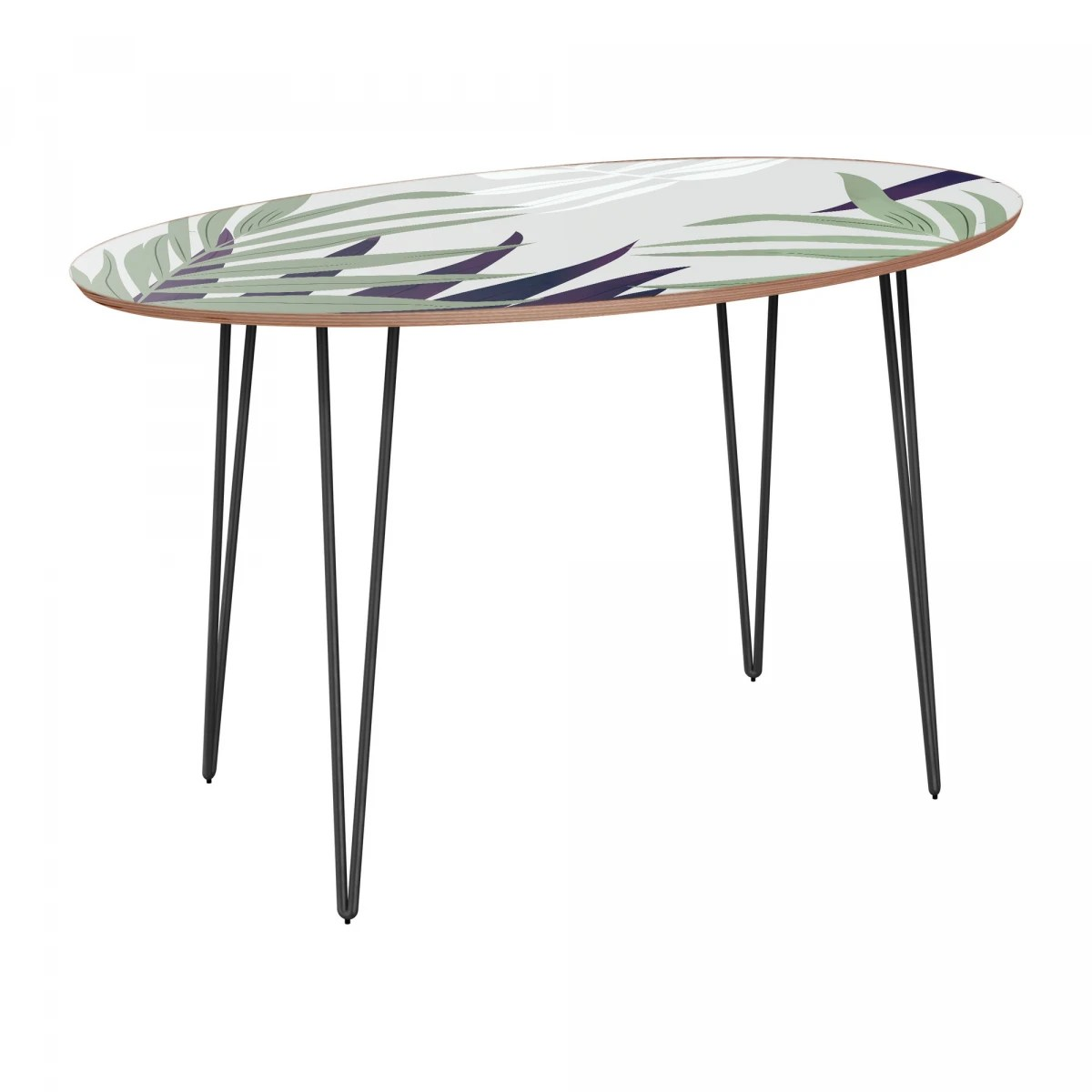 Nye Koncept Ondine Purple Palm Walnut Hairpin Dining Table