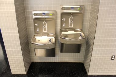Water fountains at the new M.S. 839 can fill up bottles.