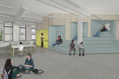 A rendering shows a portion of the planned interior for the AltSchool middle school, scheduled to open in September.