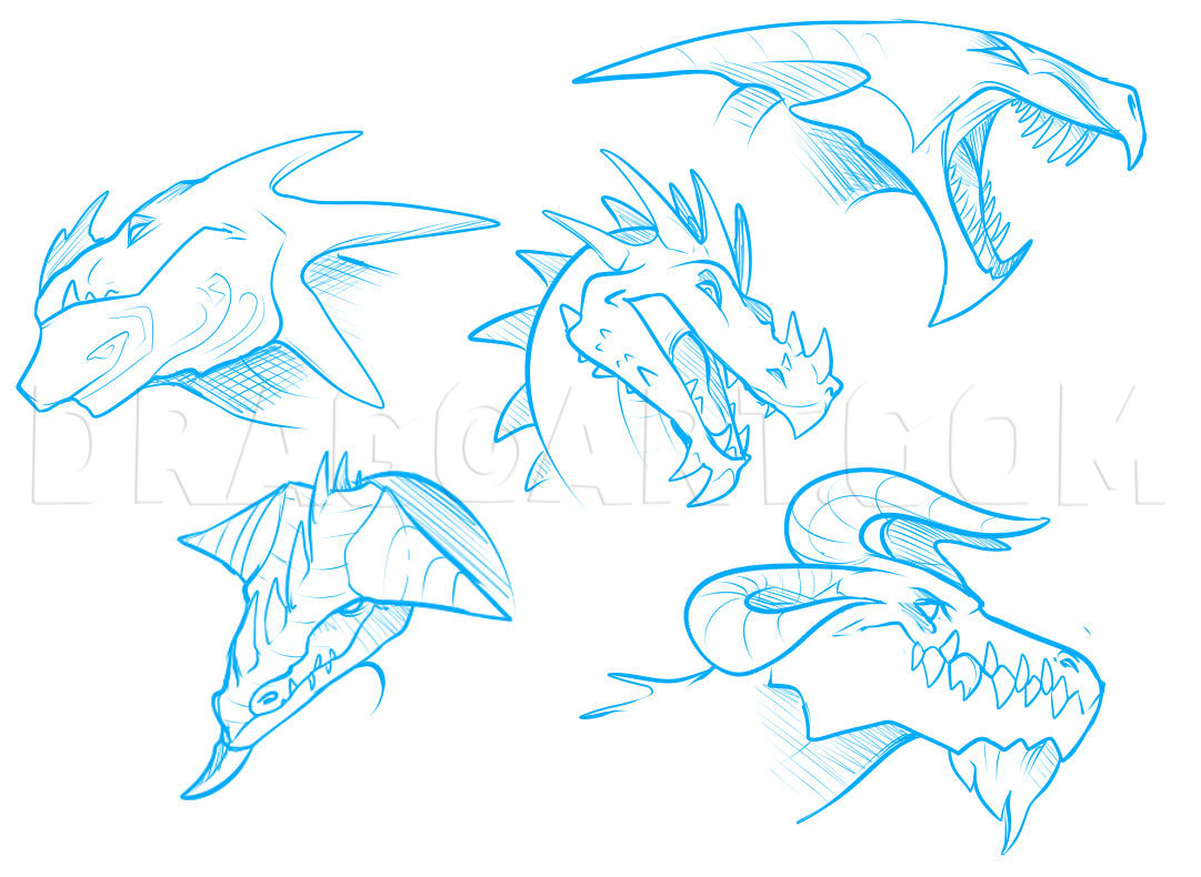 How To Draw Dragon Heads Step By Step Drawing Guide By Dawn Dragoart Com