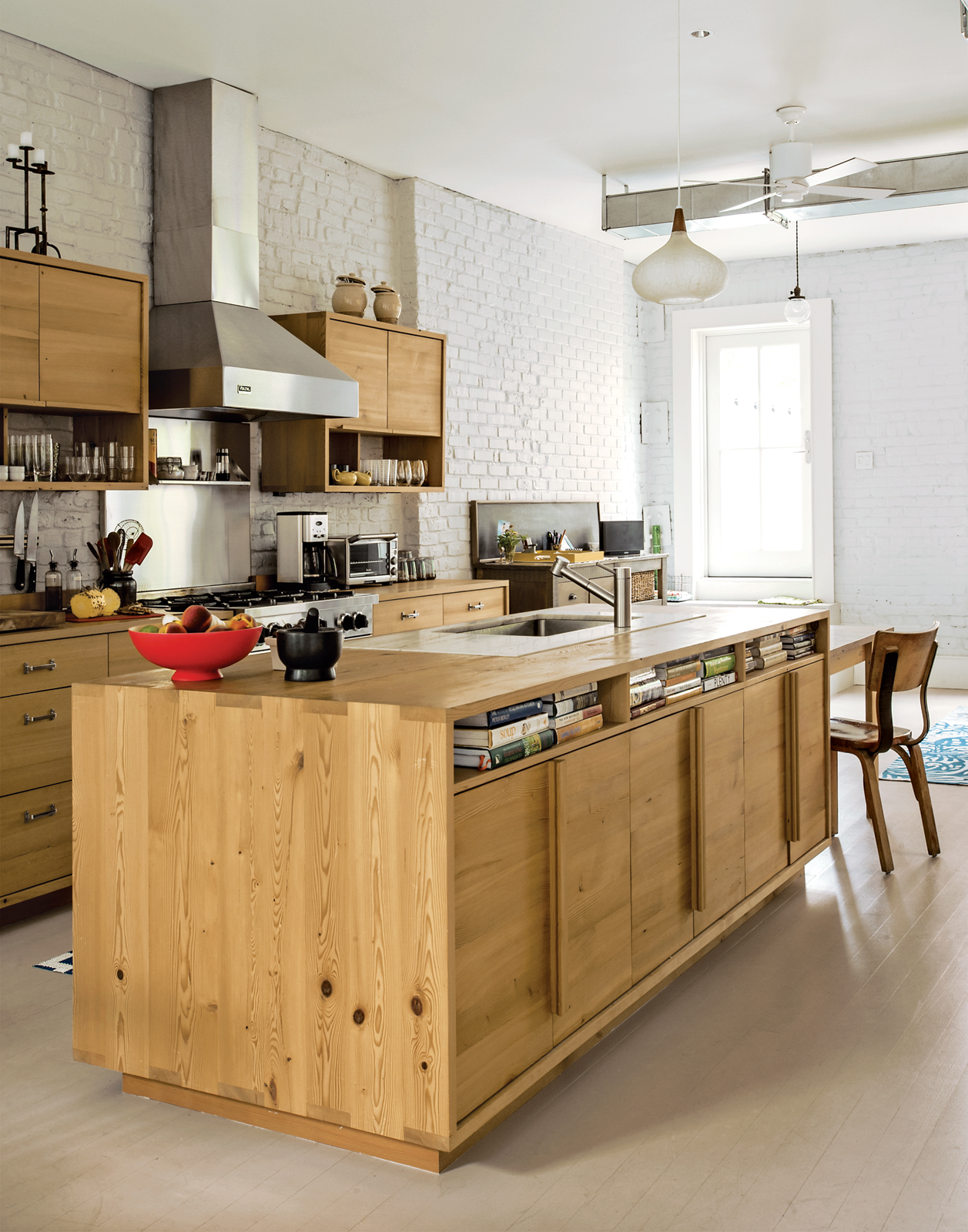 Modern kitchen with Douglas-fir island and cabinets