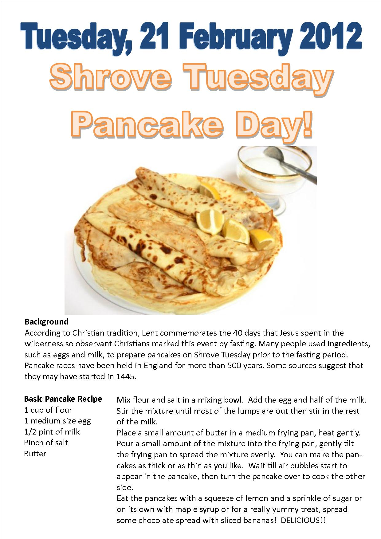 Shrove Tuesday Pancake Day