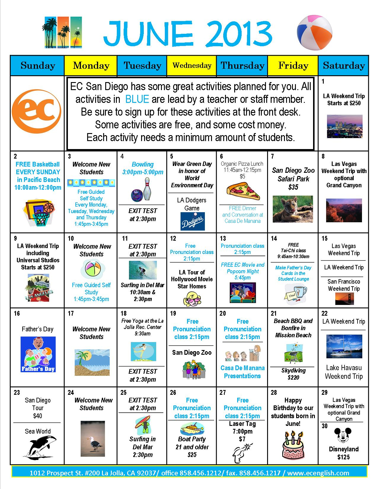 June Calendar Of Activities