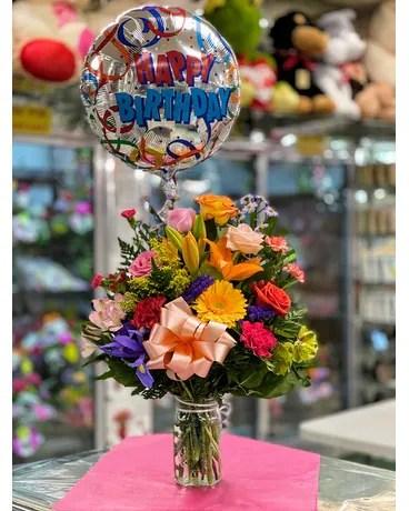 Happy Birthday Blooms Balloons In Brooklyn Ny Marine Florists
